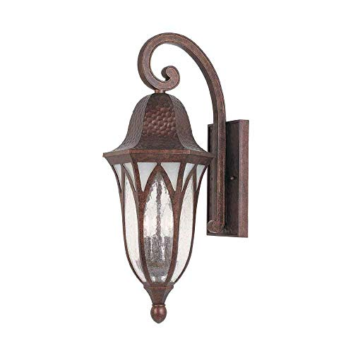 World Imports 9723-18 9 in. Burnished Antique Copper Outdoor Wall Sconce with Clear Seedy Glass