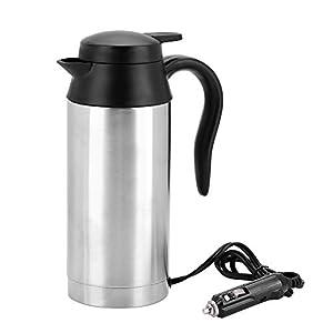 750ml Auto Elektrische Wasserkocher,Edelstahl 24V Zigarettenanzünder Thermobecher Wasserbecher für Wasser Kaffee…