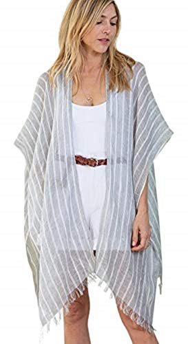 Cotton Linen Travel Wrap-Sarong-Cover-up-Scarf-Packaged in a Crisp White Voile Bag with Smooth Bamboo Handles-Matching Removable Handkerchief-One (Striped Grey)