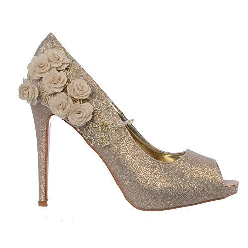 Glitter Onlineshoe Toe Donna Peep Oro Flower Sera Tacco Partito Sposa rqfrn8