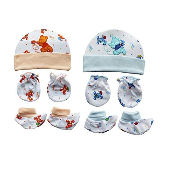 My Newborn Baby Cap Booty Mitten Set- Pack of 2 Sets