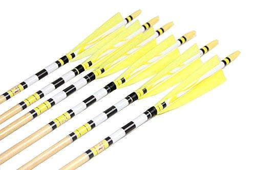 Longbowmaker Printing Turkey Feathers Cedar Wood Target Practice Arrows 6NWYT1 (6 Pack)