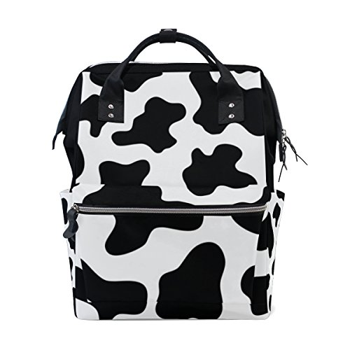 My Little Nest Large Capacity Baby Diaper Bag Black and White Cow Print Durable Multi Function Travel Backpack for Mom Girls ()