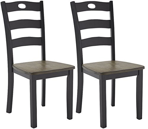 Ashley Furniture Signature Design - Froshburg Dining Room Chair - Grayish Brown/Black - Black Ladder Back Chairs