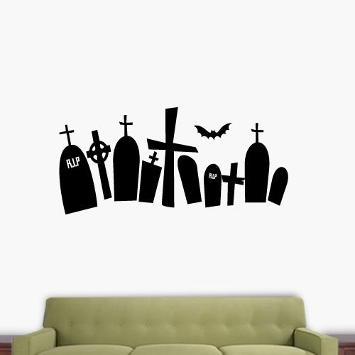 WQH000064_72 Tomb Stones 72 Inch Quote Vinyl Wall (Tombstone Quotes For Halloween)