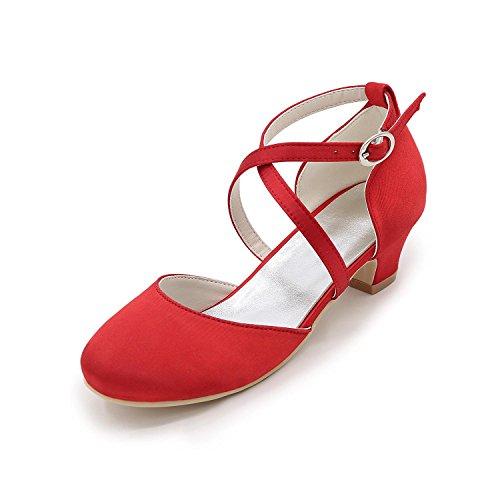 L@YC Mädchen High Heels Seide Frühling Sommer Herbst Hochzeit Party & Festivität Niedriger absatz Silber Rot Blau Red