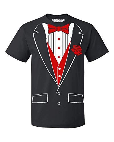 (P&B Tuxedo Red Rose Funny Men's T-Shirt, XL, Black)