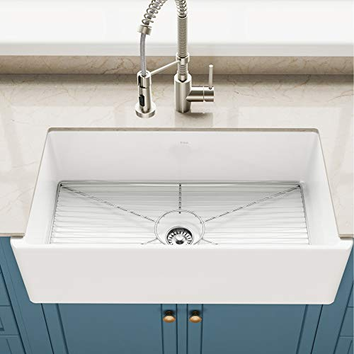 KRAUS Turino 33-inch White Fireclay Farmhouse Apron Reversible Single Bowl Kitchen Sink with Bottom Grid KFR1-33GWH