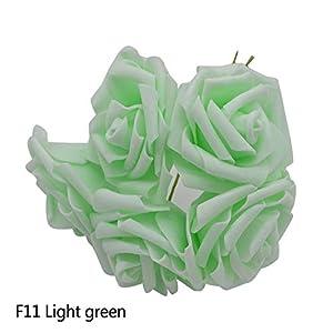 10 Heads 5 Heads 8Cm Artificial Pe Foam Rose Flowers Bridal Bridesmaid Bouquet Wedding Home Decoration Scrapbook DIY Supplies,Light Green,10 Heads 17