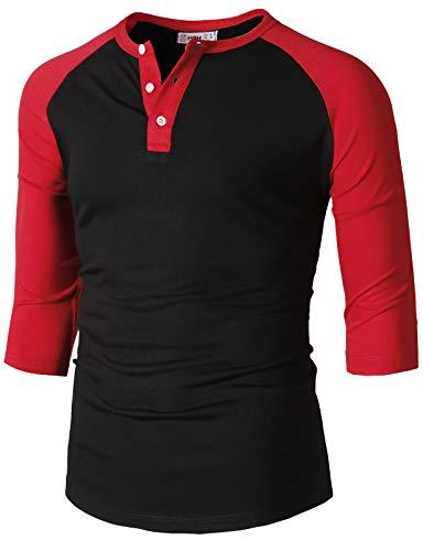 (H2H Mens Casual Slim Fit Raglan Baseball Three-Quarter Sleeve Henley T-Shirts BlackRed US S/Asia M (CMTTS0229))