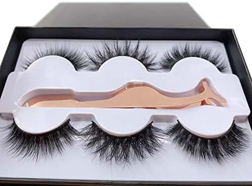 3 Styles Fluffy Mink Eyelashes 100% Siberian 3D Mink Fake Lashes Cruelty-Free False Lashes Pack with EyeLash Tweezers