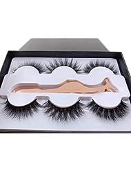 3 Styles Fluffy Mink Eyelashes 100% Siberian 3D Mink Fake LashesCruelty-Free False Lashes Pack with EyeLash Tweezers