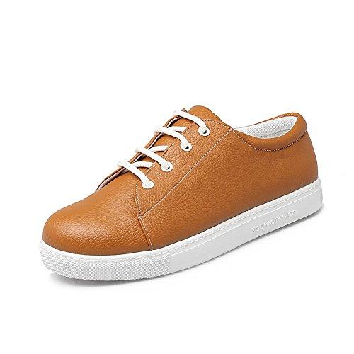 BalaMasa Womens Bandage Round-Toe Solid Urethane Flats Shoes Brown QVVTu