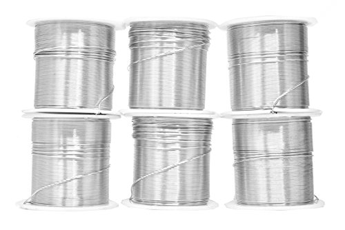 Mandala Crafts Anodized Aluminum Wire for Sculpting, Armature, Jewelry Making, Gem Metal Wrap, Garden, Colored and Soft, Assorted 6 Rolls (22 Gauge, Combo 1)
