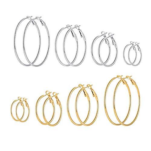 XiLuoKe 8 Pairs Big Hoop Earrings with Gold Silver Plated Stainless Steel Hoop Earrings for Women and Girls Sensitive Ears - Steel Designer Earrings Stainless