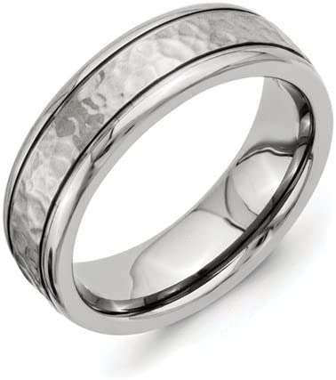 Best Quality Free Gift Box Titanium 7mm Grooved Edge Hammered And Polished Band