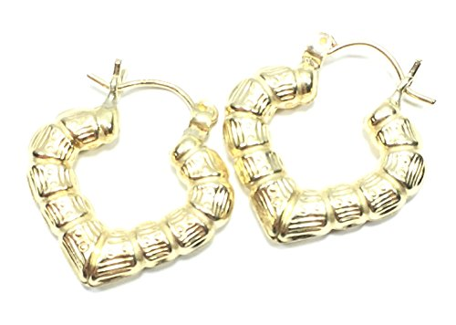 NEW 10K YELLOW GOLD 20 MM LONG HEART BAMBOO HOOP EARRINGS 6009