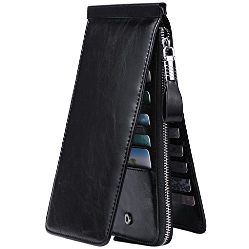 JEEBURYEE Women's Oil Wax Real Leather Multi Credit Card Holder Wallet RFID Blocking Long Bifold Clutch Wallet Ladies Purse with Zipper Pocket Black