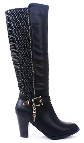 JJF Shoes Mylee Black Quilted Gold Buckle Zipper Strap Knee High Mid Heel Motorcycle ()
