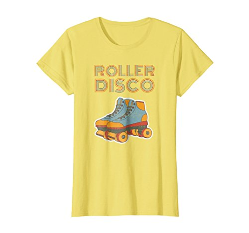 Womens Cool Vintage Roller Disco Retro 70s and 80s party T-shirt Medium (70s And 80s Clothes Fashion)