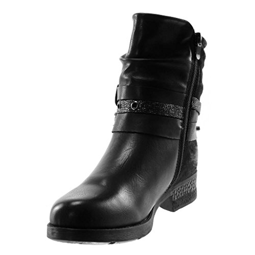 cm Booty Heel 3 Boots Women's Style Ankle Straps Black Perforated Shoes Buckle bi Fashion Biker Angkorly Vintage 5 Material Multi Block XqAHB