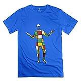 Funny Melting 3-D Rubiks Cube Mirror Men's Tshirt RoyalBlue Size M