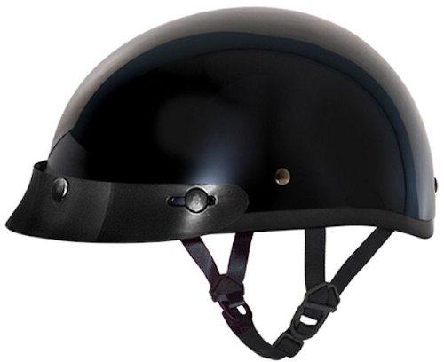 D.O.T. DAYTONA SKULL CAP W/O VISOR- HI-GLOSS BLACK (Dot Helmets Daytona)
