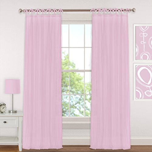 Pink Tab Top Curtains - Elrene Home Fashions Juvenile Teen or Tween Tab Top Sheer  Single Window Panel Curtain Drape, 50