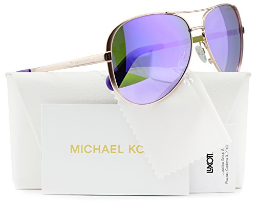 Michael Kors MK5004 Chelsea Aviator Sunglasses Rose Gold w/Purple Mirror (1003/4V) MK 5004 10034V 59mm - Polarized Kors Michael Sunglasses