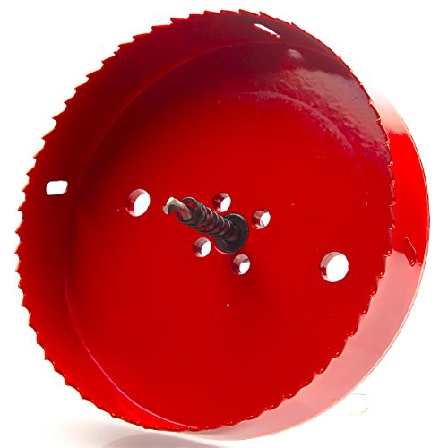 Eliseo 6 inch 150 mm Hole Saw Blade for Cornhole Boards / Corn Hole Drilling Cutter & Hex Shank Drill Bit Adapter for Cornhole Game / Carbon Steel & BI-Metal Heavy Duty Steel( Red )