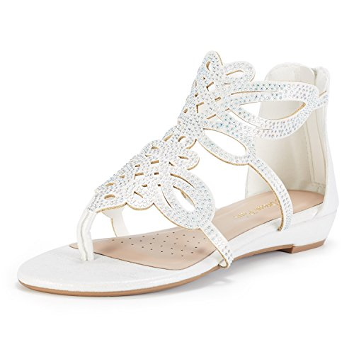 DREAM PAIRS Women's Jewel_02 White Rhinestones Design Ankle High Flat Sandals Size 9 M US by DREAM PAIRS