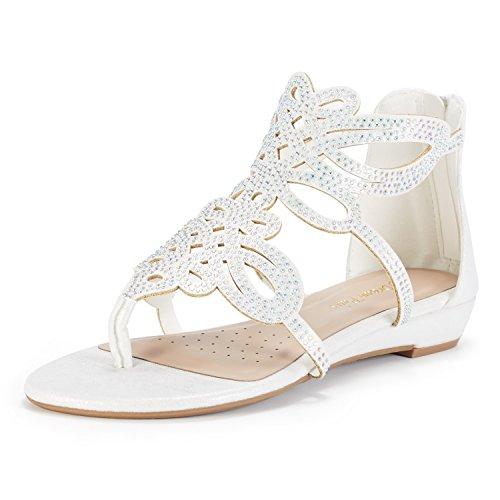 DREAM PAIRS Women's Jewel_02 White Rhinestones Design Ankle High Flat Sandals Size 10 M US