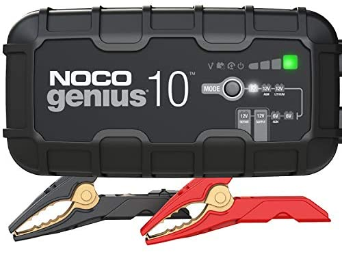NOCO GENIUS10, 10-Amp Fully-Automatic Smart Charger, 6V And 12V Battery Charger, Battery Maintainer, Trickle Charger, And Battery Desulfator With Temperature Compensation