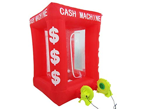 KUNHEWUHUA 7ft/2.2m Inflatable Cash Cube Money Machine Cash Cube Money Booth Money Blower Money Grab Machine for Sale Advertising Promotion with 2 Blowers 110v