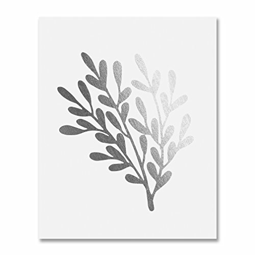 Branch with Leaves Silver Foil Print Poster Art Floral Hand Drawn Unframed Metallic Silver Decor 8 inches x 10 inches E33 ()