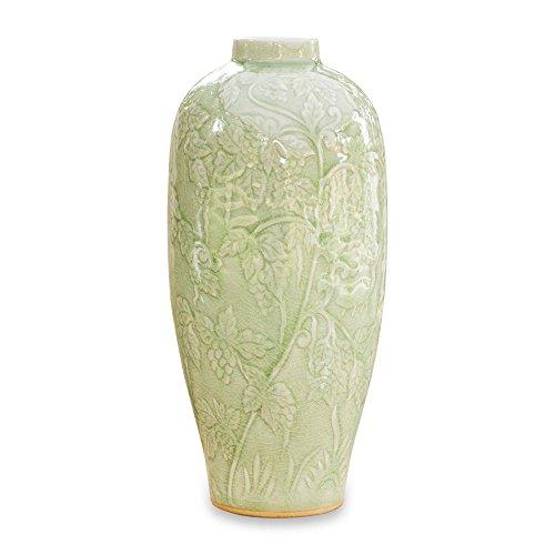 NOVICA Leaf And Tree Ceramic Vase, Green 'Rampant Vineyard'