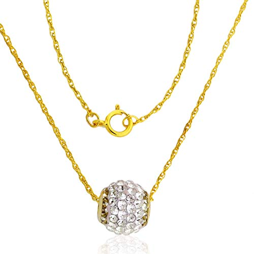 AVORA 10K Yellow Gold Swarovski Elements Crystal Slide Ball Pendant Necklace with 18
