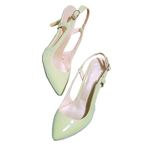 Nonbrand Women's Slim Heel Synthetic Slingbacks Green H8FMv6