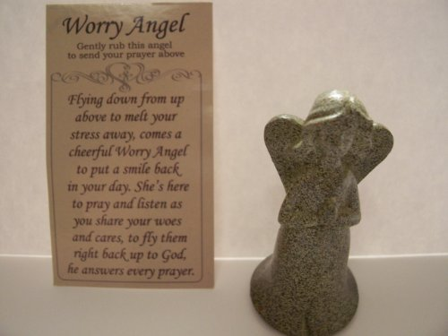 Resin Worry Angel with Accompanying Prayer Card ()
