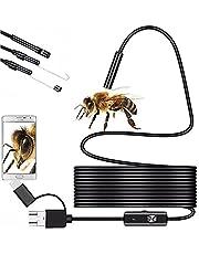 Retoo Waterdichte HD endoscoopcamera met IP67 en 6 leds, mobiele telefoon endoscoop met micro-USB en type-C, buiscamera met halflange kabel, inspectiecamera met haak, magneet en spiegel voor Android, iOS