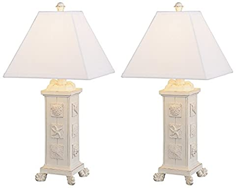 Seashells Antique White Square Column Table Lamp Set of 2