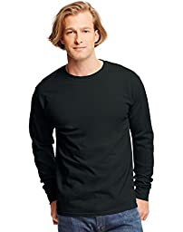 Hanes TAGLESS 6.1 Long Sleeve T-Shirt (Black, XXXL)