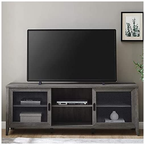 Farmhouse Living Room Furniture Walker Edison Farmhouse Sliding Mesh Barn Door 70″ Industrial TV Stand Console in Rustic Grey Wash farmhouse tv stands