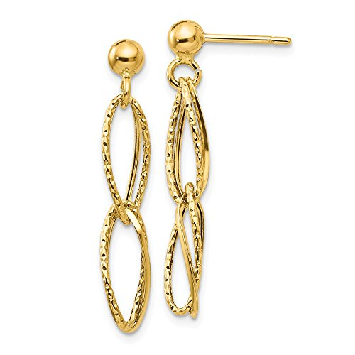 14k Yellow Gold Textured Post Stud Drop Dangle Chandelier Earrings Fine Jewelry Gifts For Women For Her