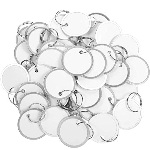 100 Pieces Round Metal Rim Tags Paper Key Tags with Key Rings (3.1cm, Silver and White) ()
