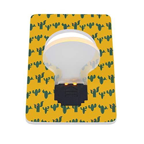 (RFVPKAQZ Wallet Card LED Night Light Outdoor Credit Card Light Bulb Pretty Green Saguaro Cactus Yellow LED Card Light 2 Packs)