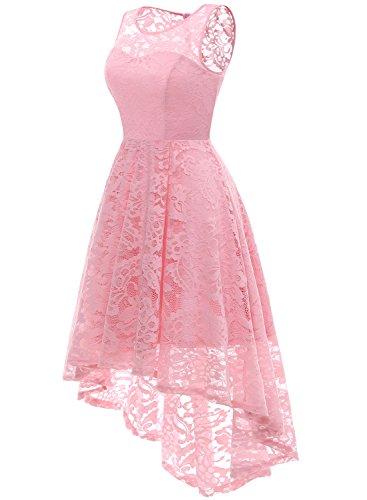 Elegant Unregelmässig Ballkleid aus Rosa Kleid MUADRESS Ärmellos Spitzen Party Cocktailkleider Damen ESqwWdY4xC