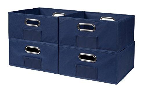 Niche Cubo Half-Size Foldable Fabric Storage Bins (Set of 4), Blue