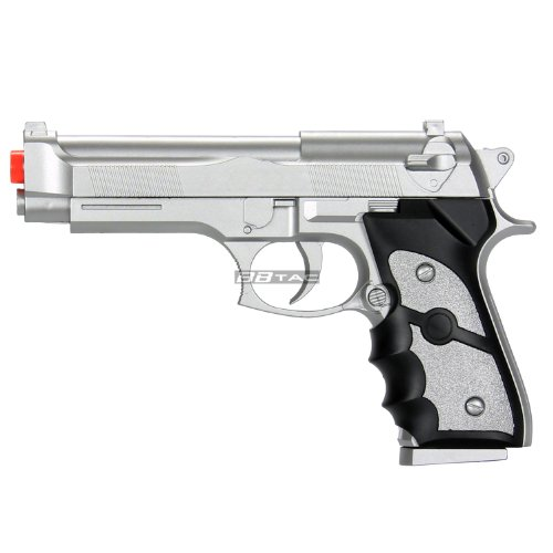 BBTac Airsoft Spring Pistol Silver 150 FPS Spring Loaded Power Airsoft Gun (Best Spring Loaded Airsoft Pistol)