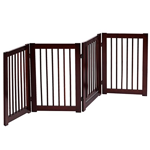 Giantex Pet Gate with Door Wooden Pet Playpen Adjustable Panel Safety Gate, Cerise Finish (30
